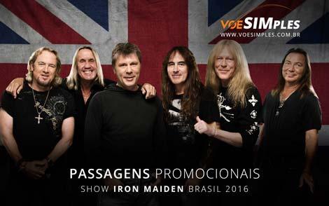 Passagem aérea promocional para Show Iron Maiden Brasil 2016