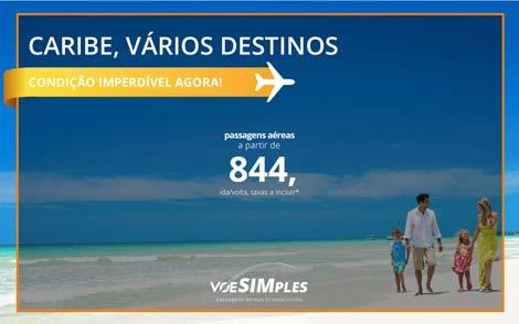 Passagem aérea promocional para Aruba, Curaçao e Punta Cana