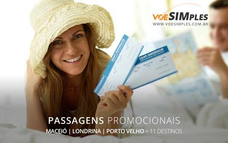 Voos promocionais para Maceió, Londrina, Porto e Velho