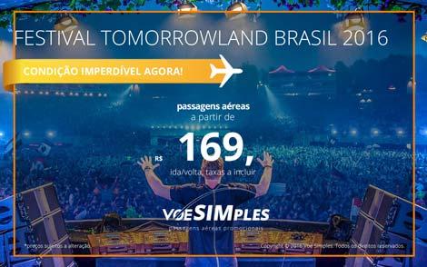 Passagem aérea promocional para o Tomorrowland Brasil 2016