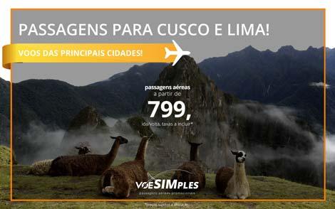 Passagem aérea promocional para Lima e Cusco