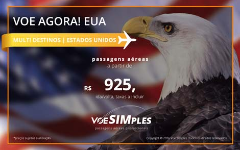 Mini preços de passagens aéreas internacionais para os Estados Unidos