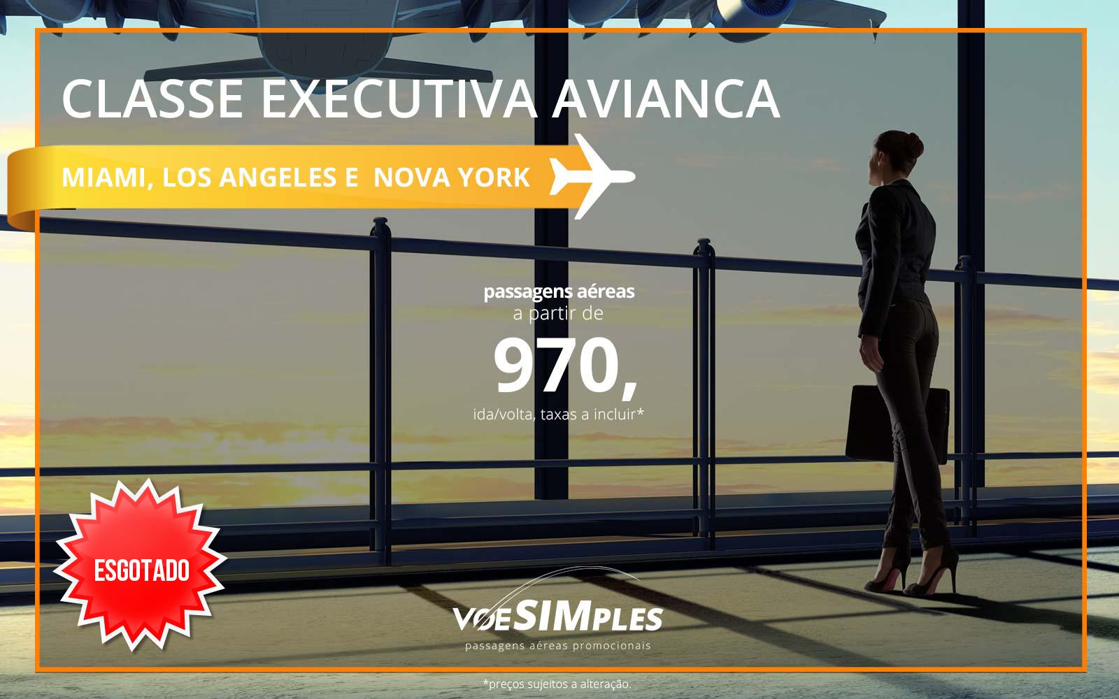 Passagem aérea Classe Executiva Avianca para os Estados Unidos