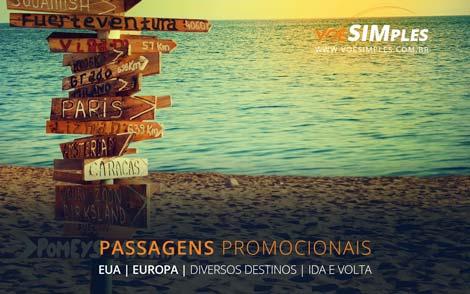 Passagem aérea promocional para EUA e Europa