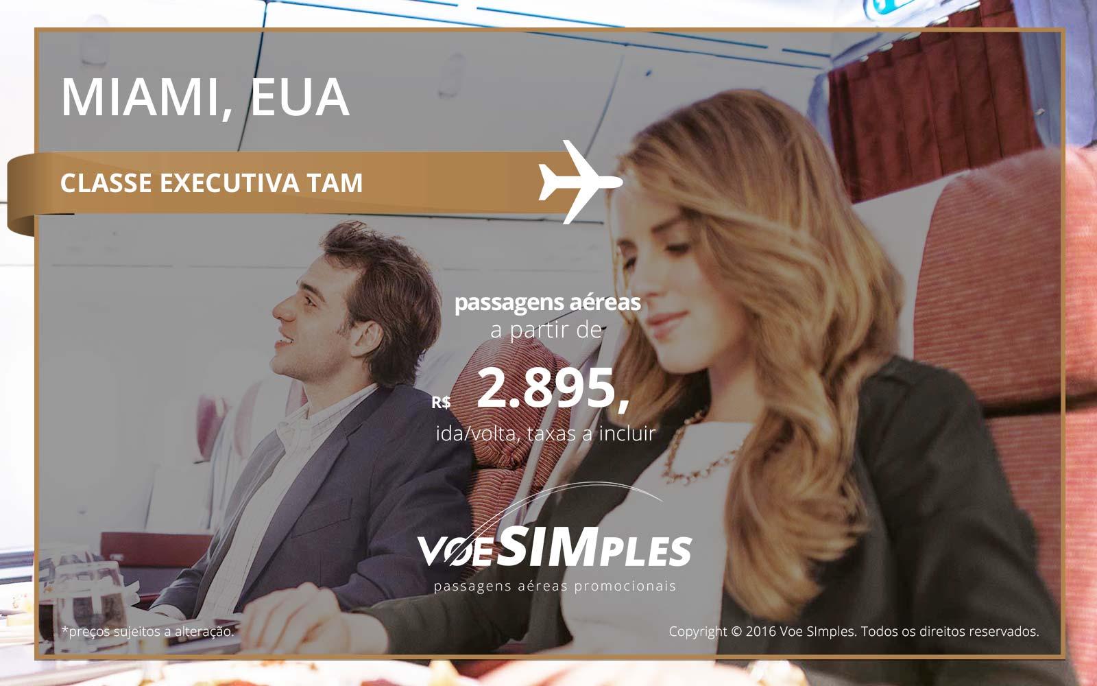 Passagem aérea Classe Executiva TAM para Miami