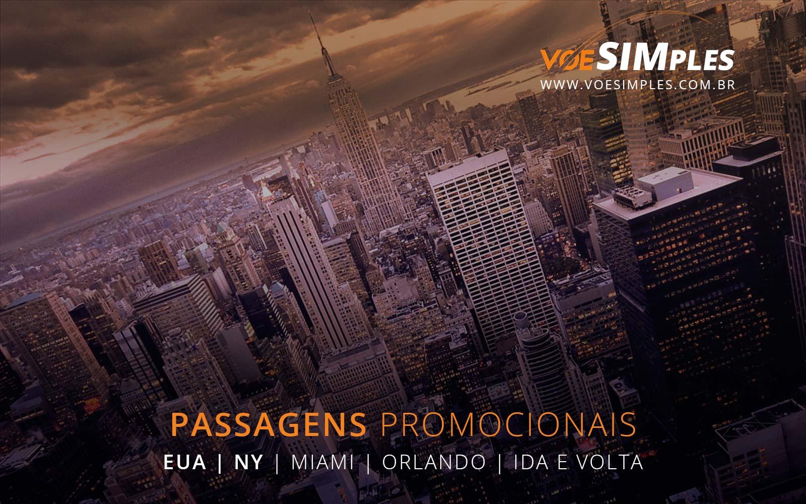 Passagens aéreas promocionais para Miami, Orlando e Nova York nos Estados Unidos