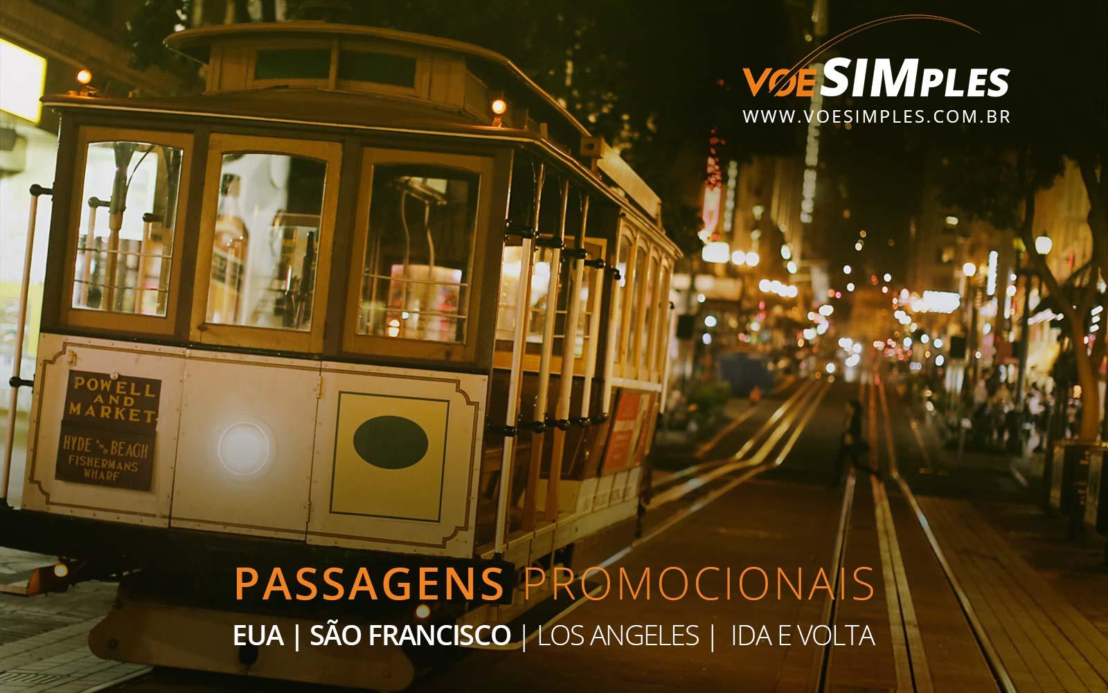 Passagens aéreas baratas para Los Angeles e San Francisco nos Estados Unidos.