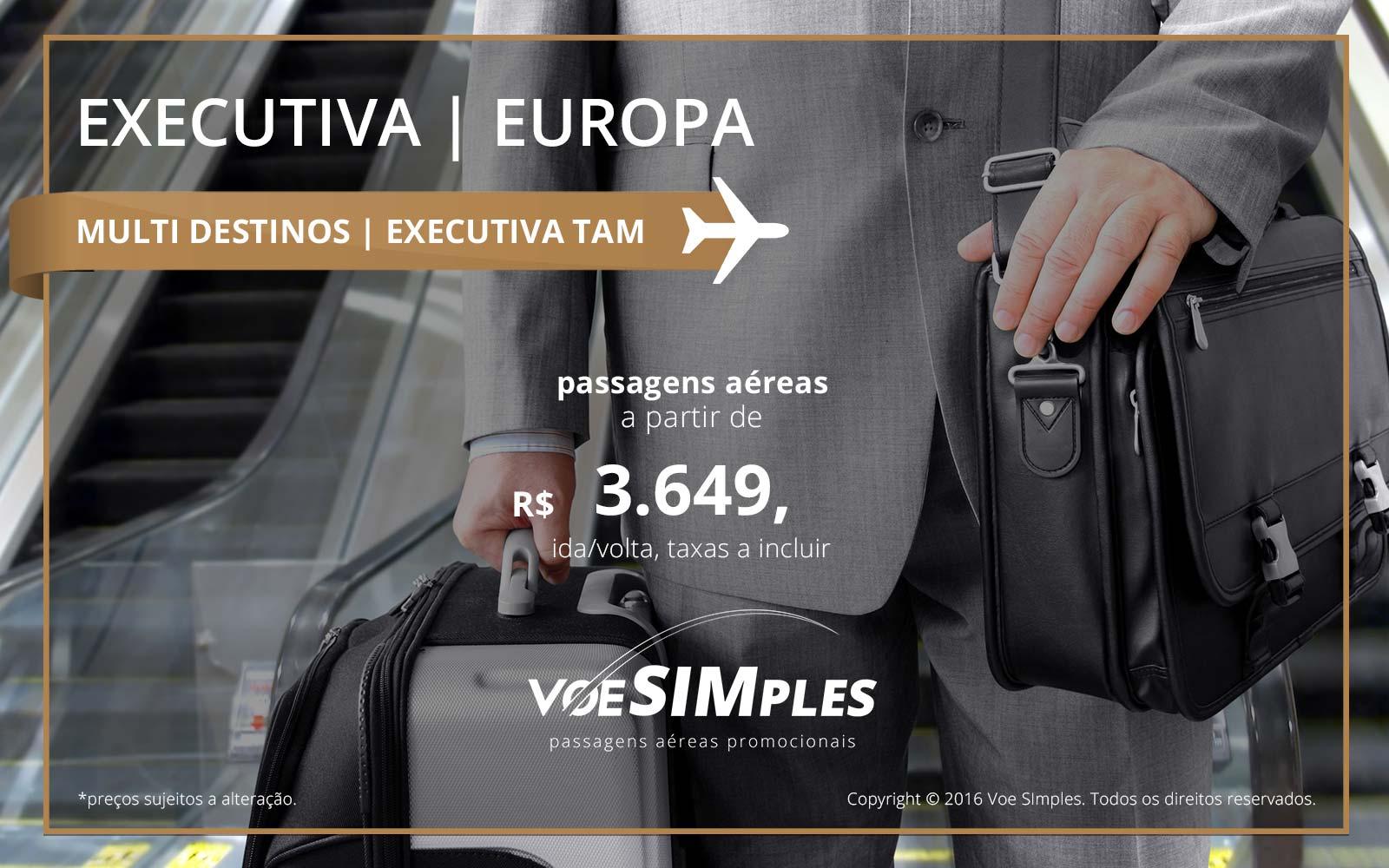 Passagem aérea Classe Executiva TAM para Paris, Madri e Frankfurt