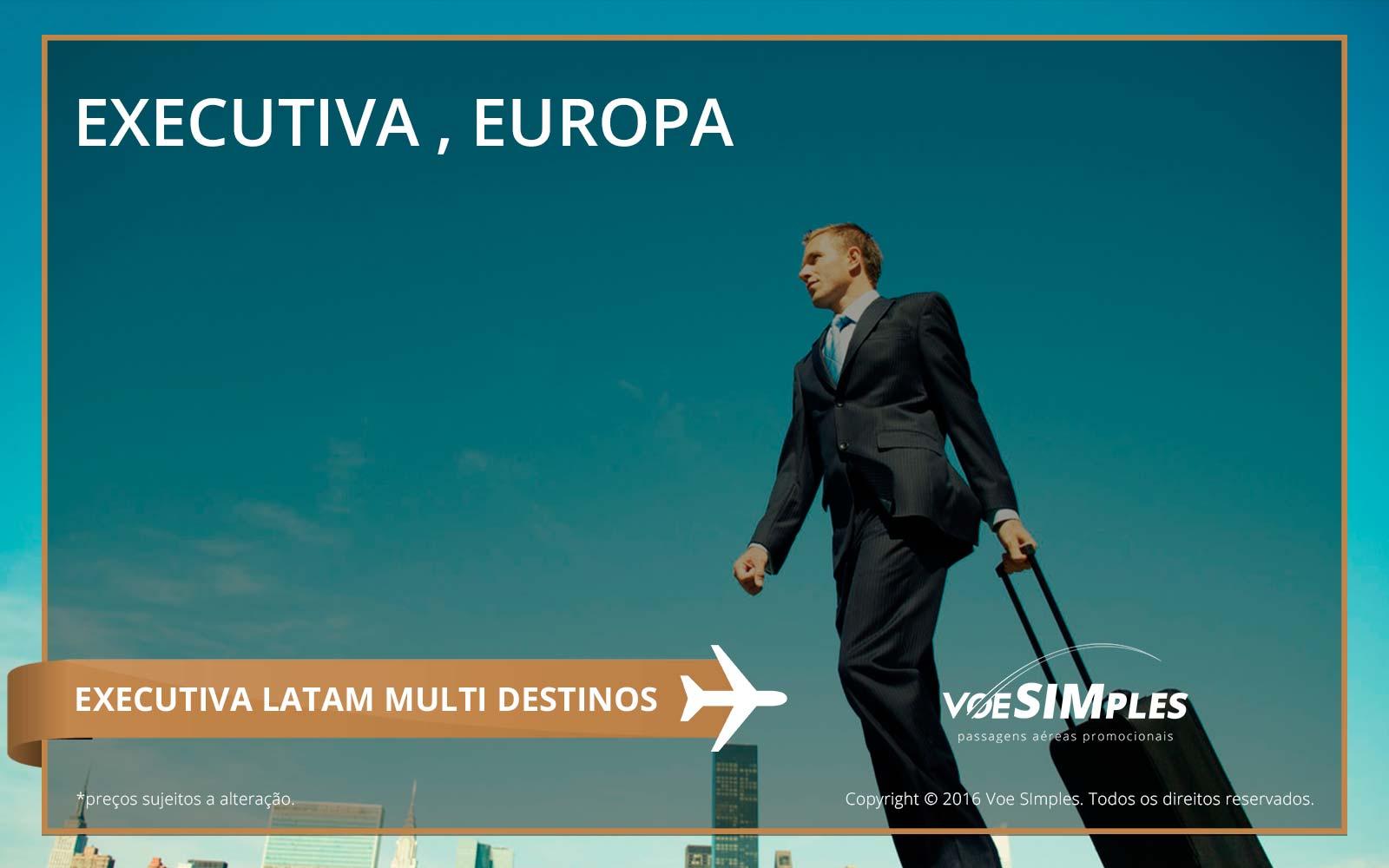 Passagens aéreas promocionais Classe Executiva para Europa