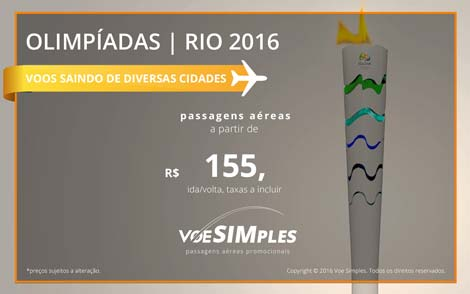 Passagem aérea promocional para as Olimpíadas Rio 2016
