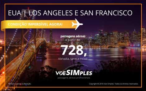 Passagens aéreas promocionais para Los Angeles e San Francisco