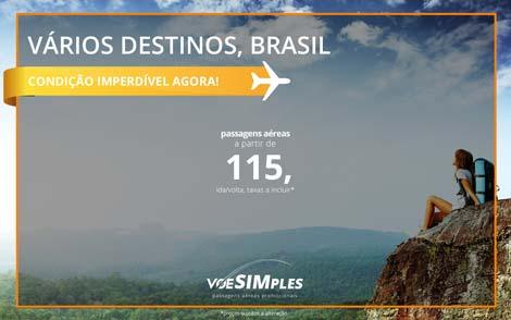 Promoção relâmpago! Passagens aéreas promocionais para o Brasil a partir de R$ 115,00 ida e volta!