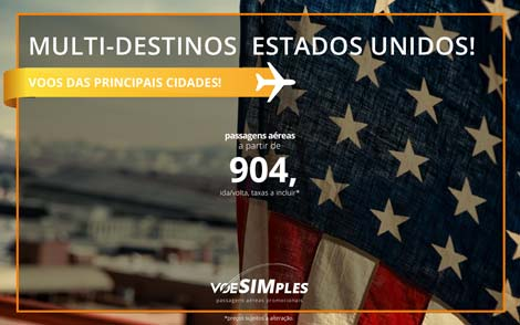 Passagens aéreas promocionais para os Estados Unidos