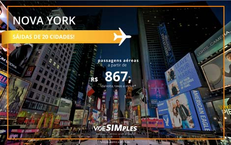 Passagens aéreas promocionais para Nova York