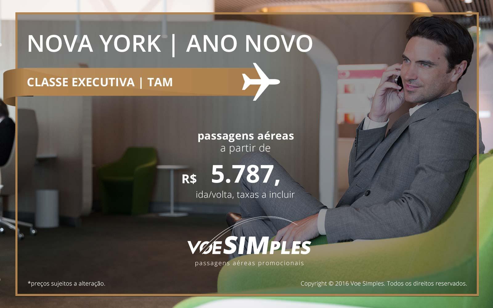 Passagem aérea Classe Executiva TAM para Nova York no Ano Novo