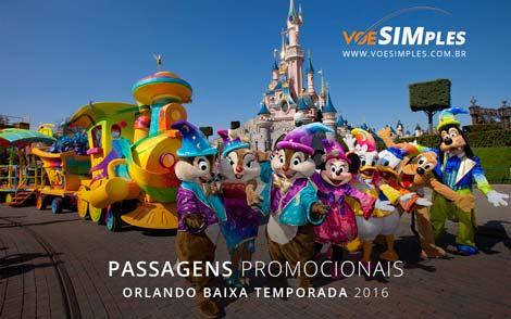 Passagem aérea promocional para Orlando em baixa temporada