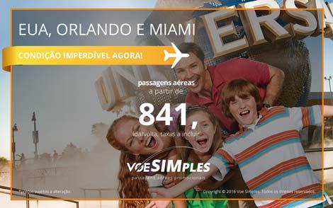Passagens aéreas promocionais para Miami e Orlando