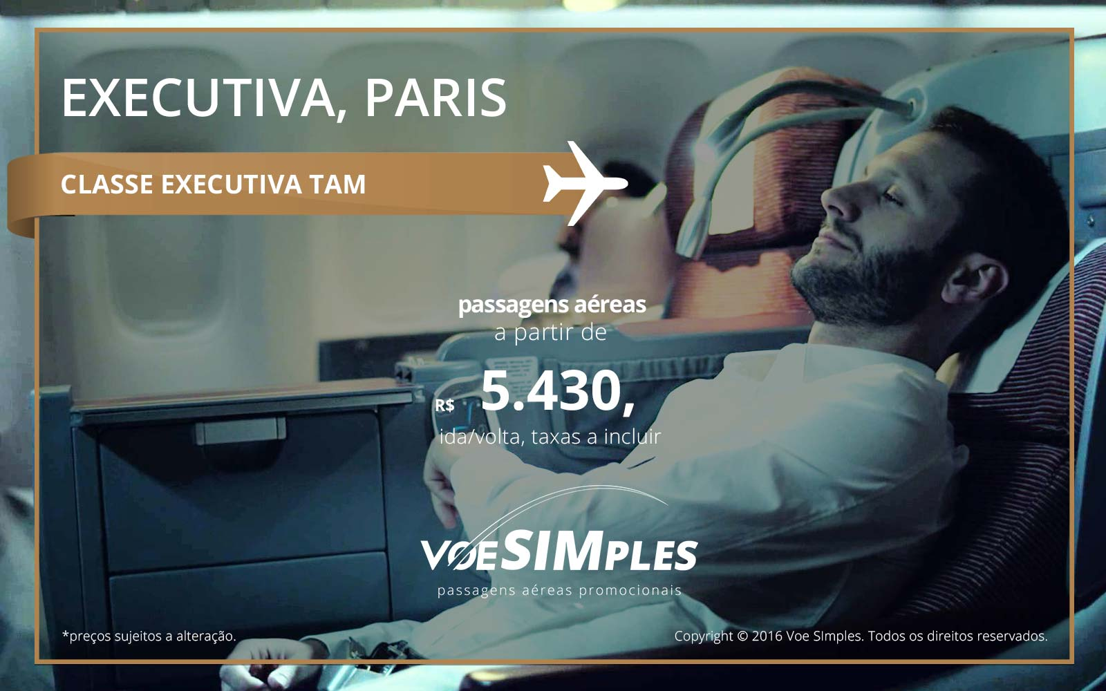 Passagem aérea Classe Executiva TAM para Paris