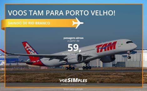 Passagem aérea promocional TAM para Porto Velho saindo de Rio Branco