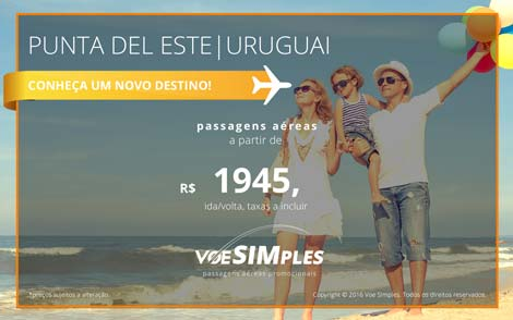 Passagem aérea promocional para Punta del Este