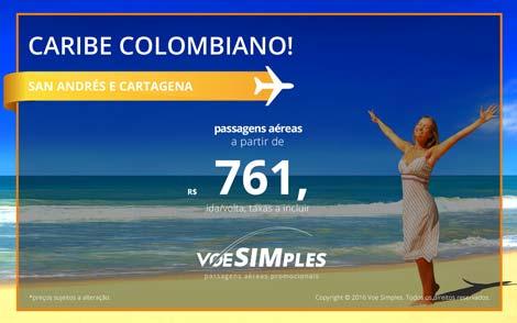 Passagem aérea promocional para San Andrés e Cartagena