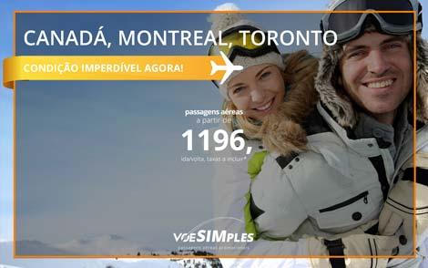 Passagem aérea promocional para o Canadá