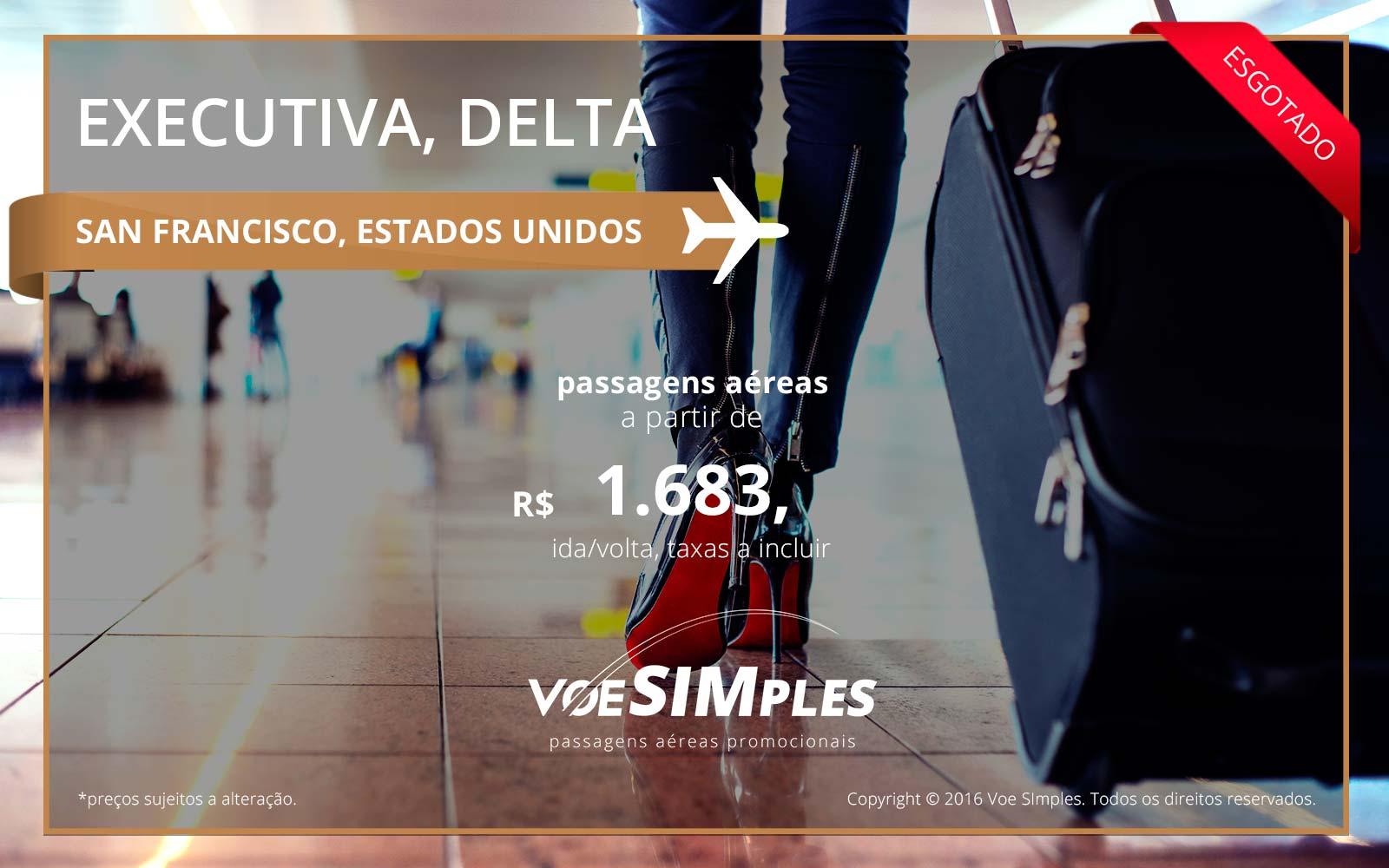 Passagem aérea Classe Executiva Delta Airlines para San Francisco