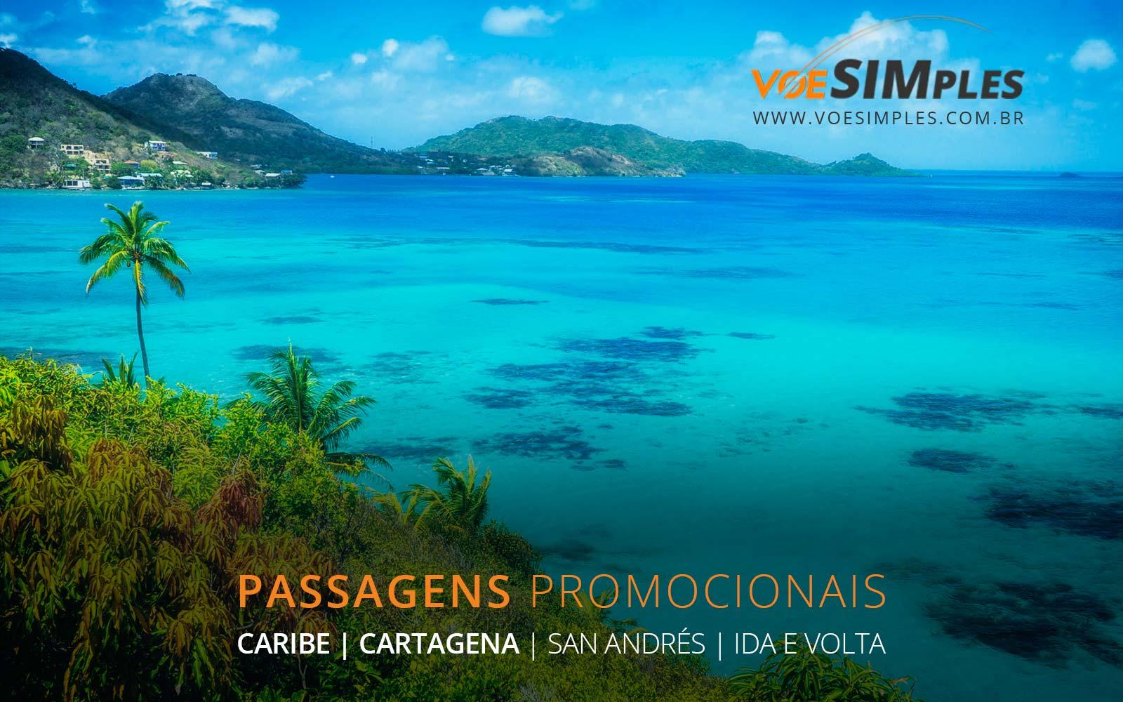 Passagens aéreas baratas para Cartagena e San Andrés no Caribe Colombiano.