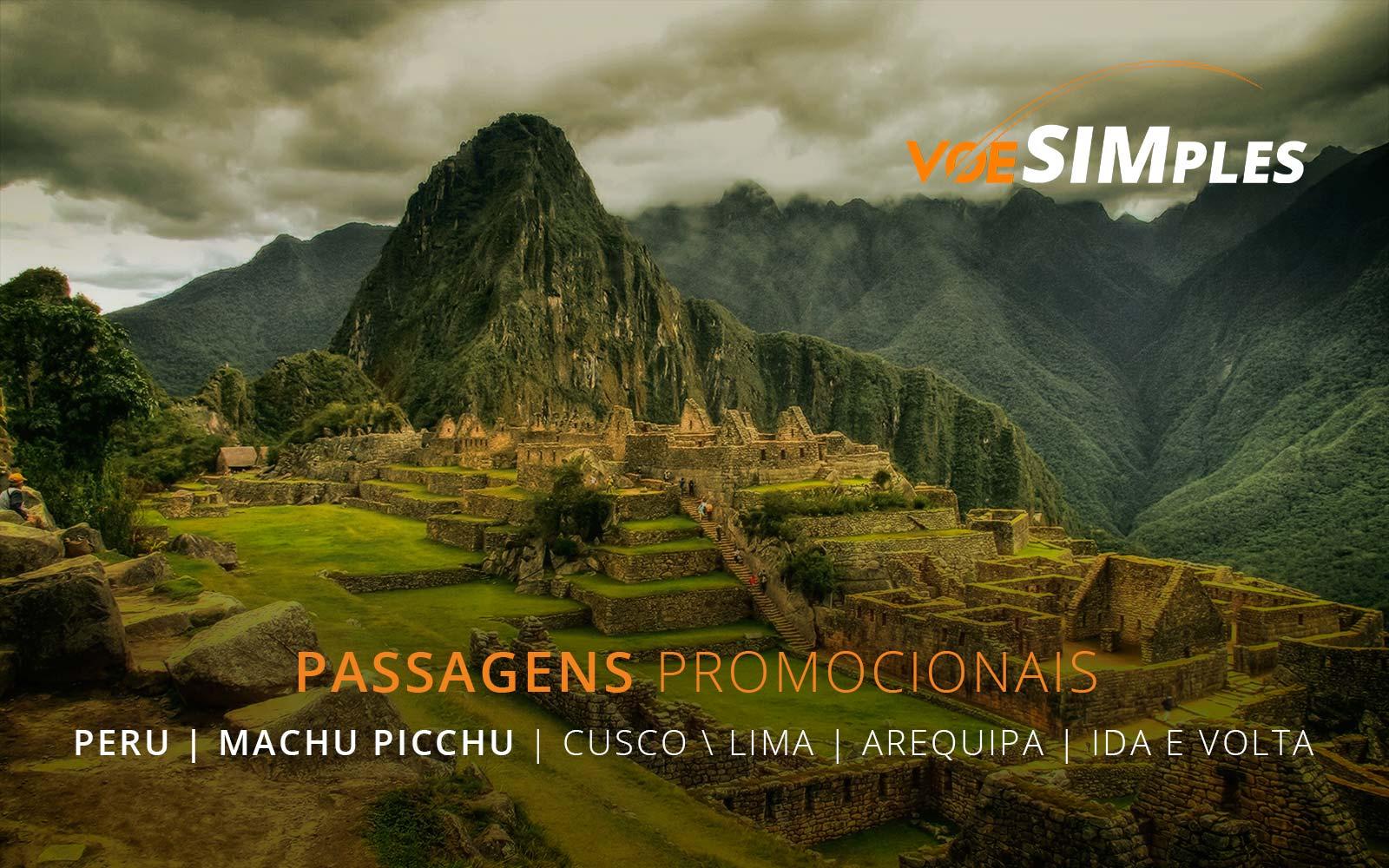 Passagens aéreas promocionais para Arequipa, Lima, Cusco e Machu Picchu no Peru
