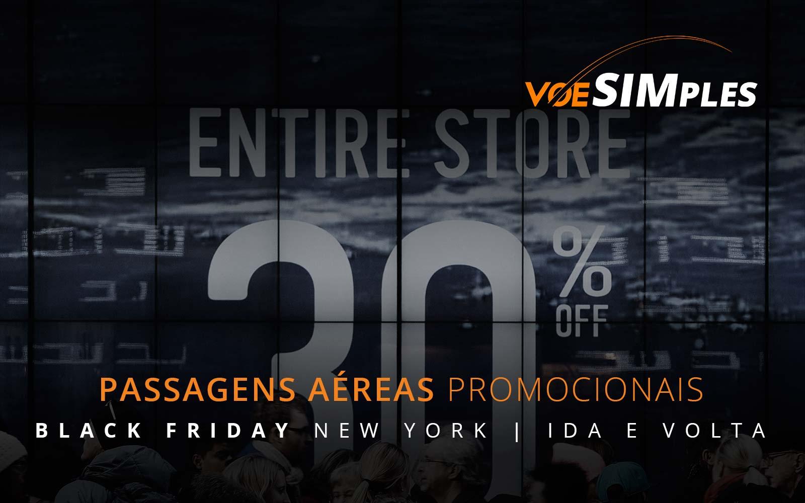 Passagens aéreas promocionais para a Black Friday em Nova York nos Estados Unidos