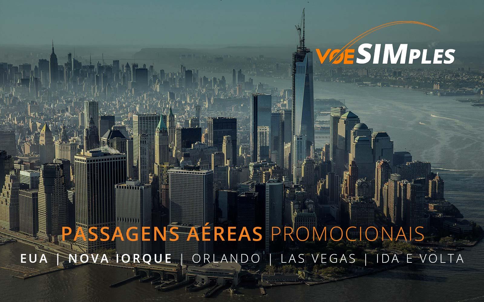 Passagens aéreas promocionais para Miami, Orlando, Nova York e Las Vegas nos Estados Unidos