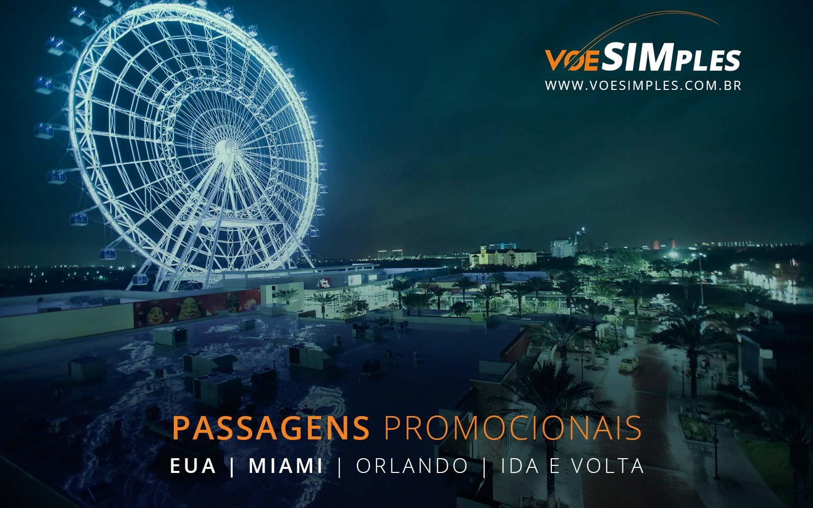 Passagens aéreas promocionais para Miami e Orlando nos Estados Unidos