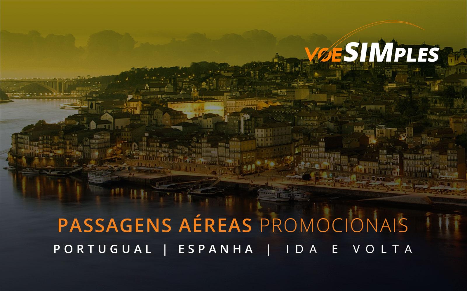 Passagens aéreas promocionais para a Espanha e Portugal
