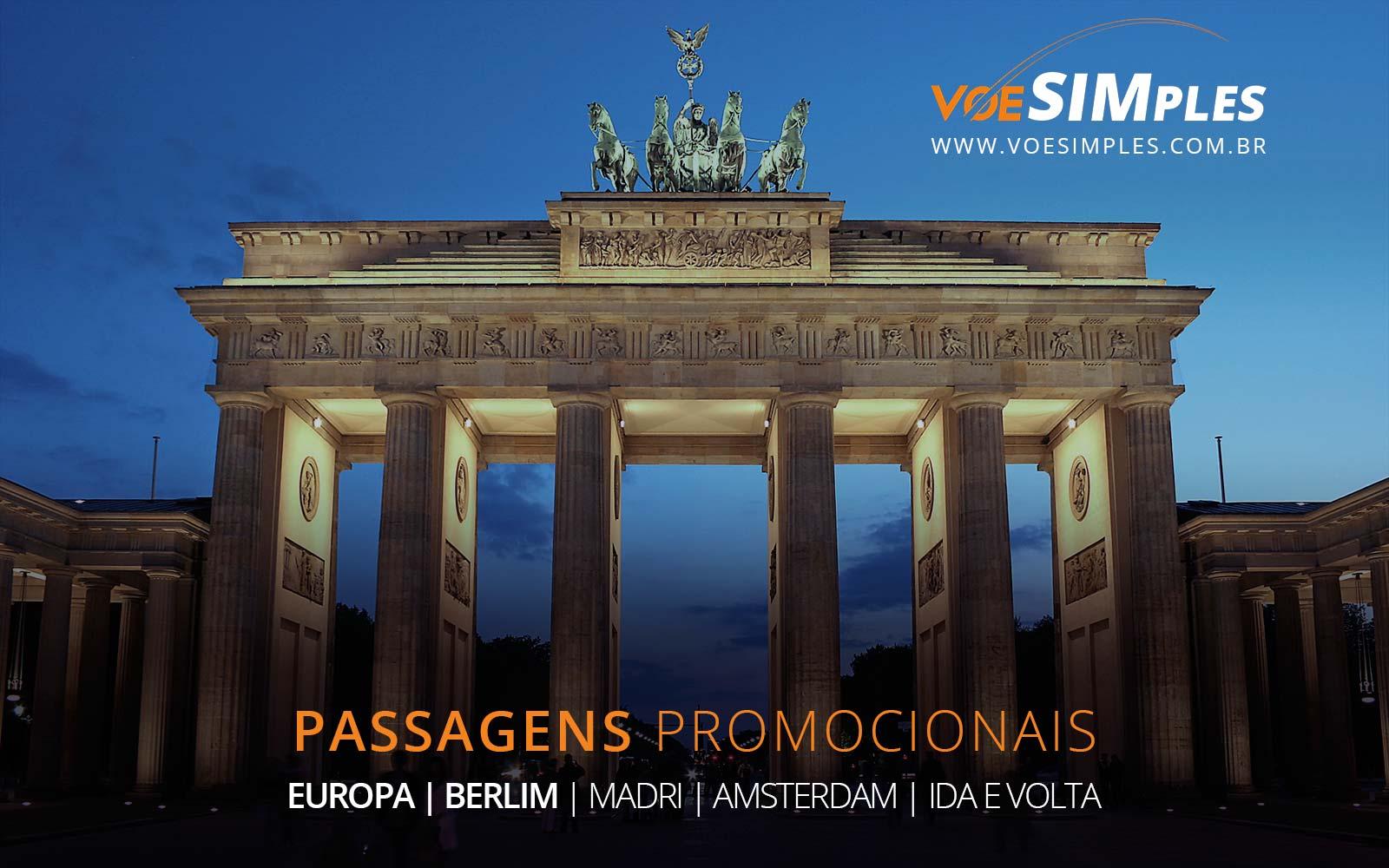 Passagens aéreas promocionais para Madri, Frankfurt, Amsterdam e Berlim na Europa