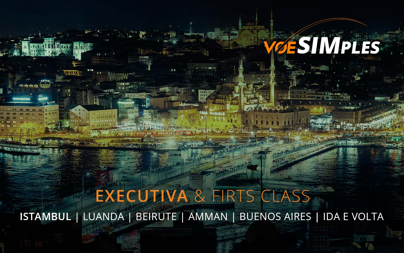 Primeira Classe Emirates para Buenos Aires, Beirute, Luanda, Amman e Istambul