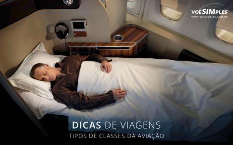 Qual a diferença da Classe Econômica, Classe Premium Economy, Classe Executiva e First Class