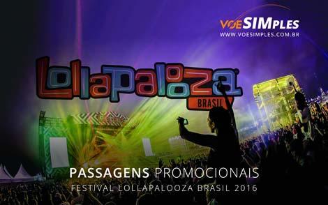 Passagem aérea promocional para o Lollapalooza 2016