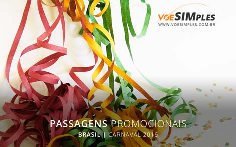 Promoção passagens aéreas para o carnaval 2016