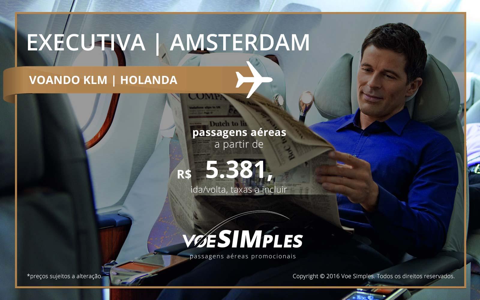 Passagem aérea Classe Executiva KLM para Amsterdã