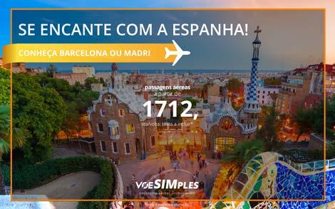 Passagens aéreas promocionais para Barcelona e Madri saindo de São Paulo e Rio de Janeiro