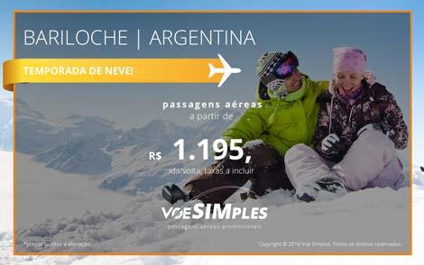 Passagem aérea promocional para Bariloche na Alta Temporada