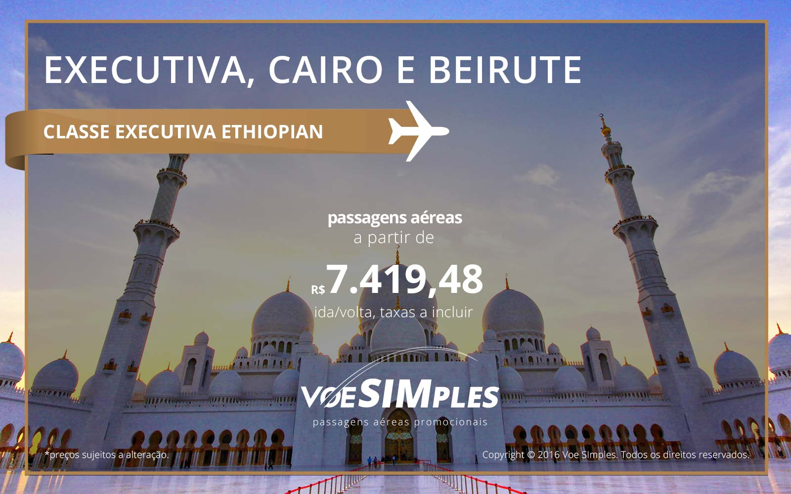 Passagem aérea Classe Executiva Ethiopian Airlines para Cairo e Beirute