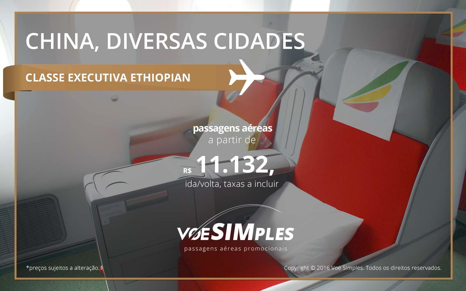 Passagem aérea Classe Executiva Ethiopian Airlines para China