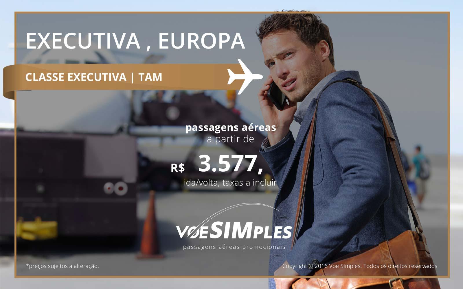 Passagem Classe Executiva TAM para a Europa