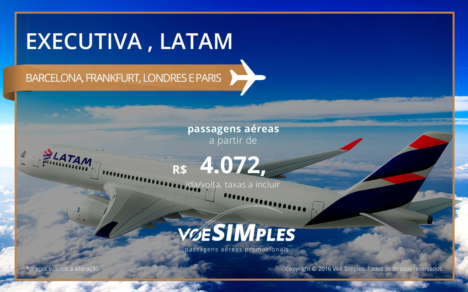 Passagem aérea Classe Executiva LATAM para a Europa