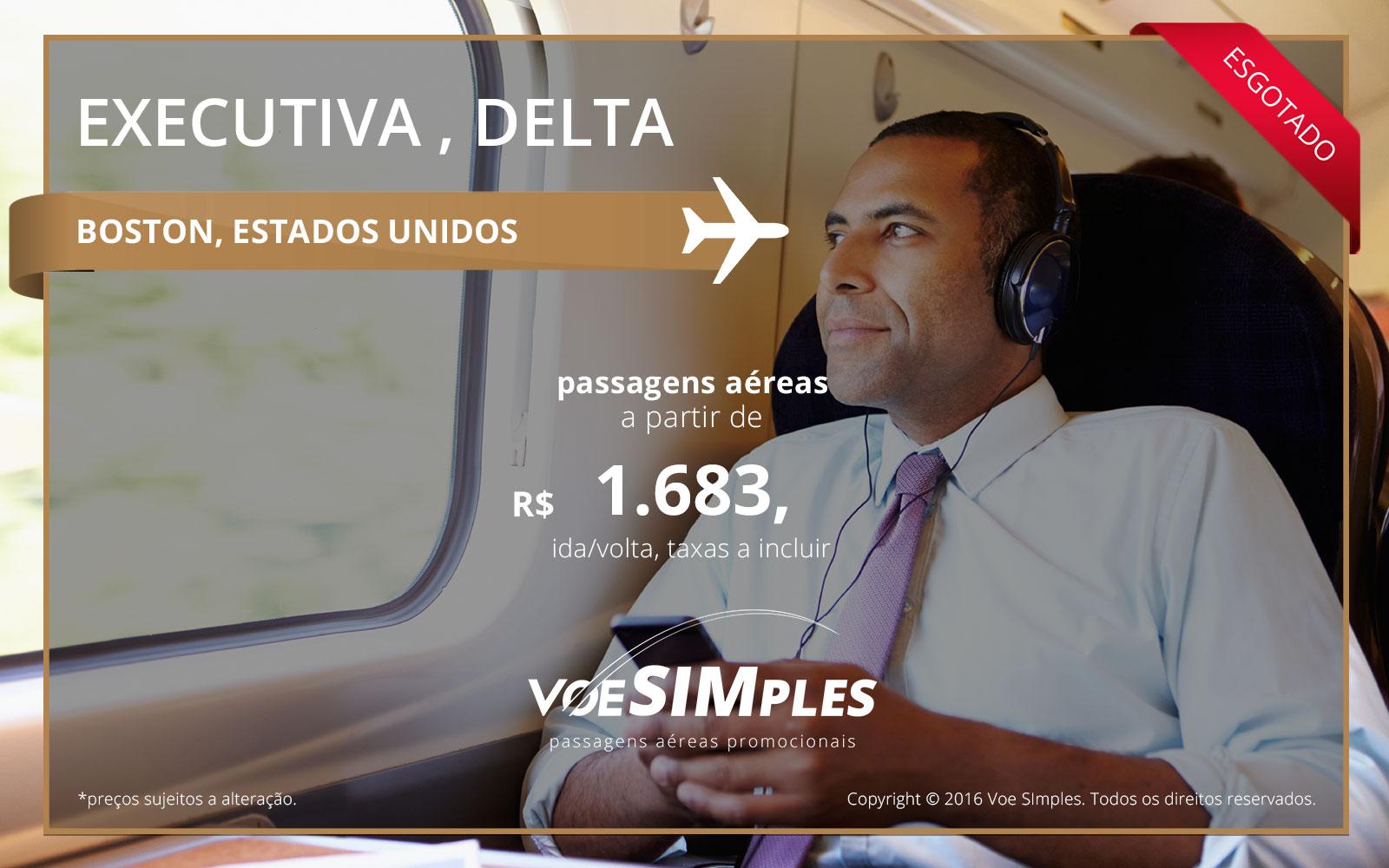 Passagem aérea Classe Executiva Delta Airlines para Boston
