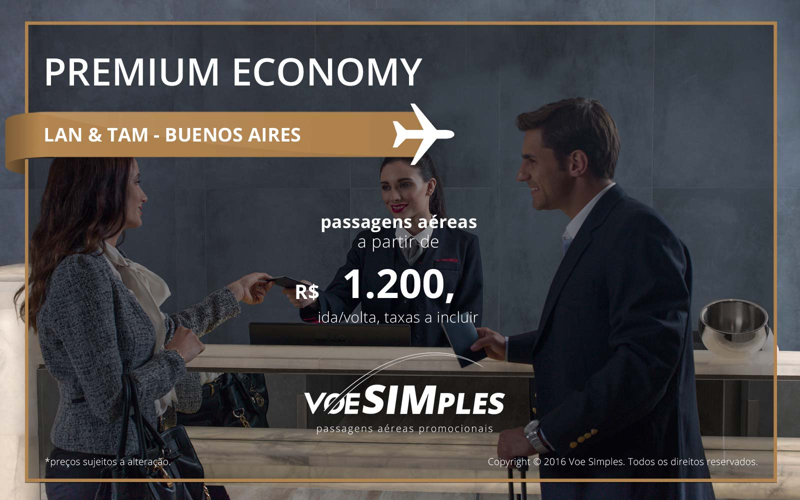 Passagem aérea Premium Economy TAM e LAN para Buenos Aires