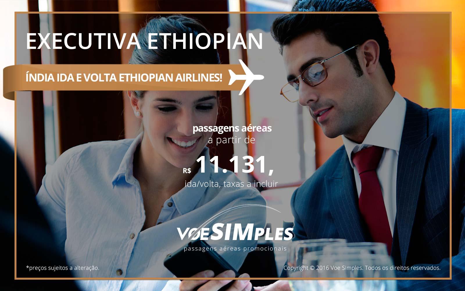 Passagem aérea Classe Executiva Ethiopian Airlines para Índia