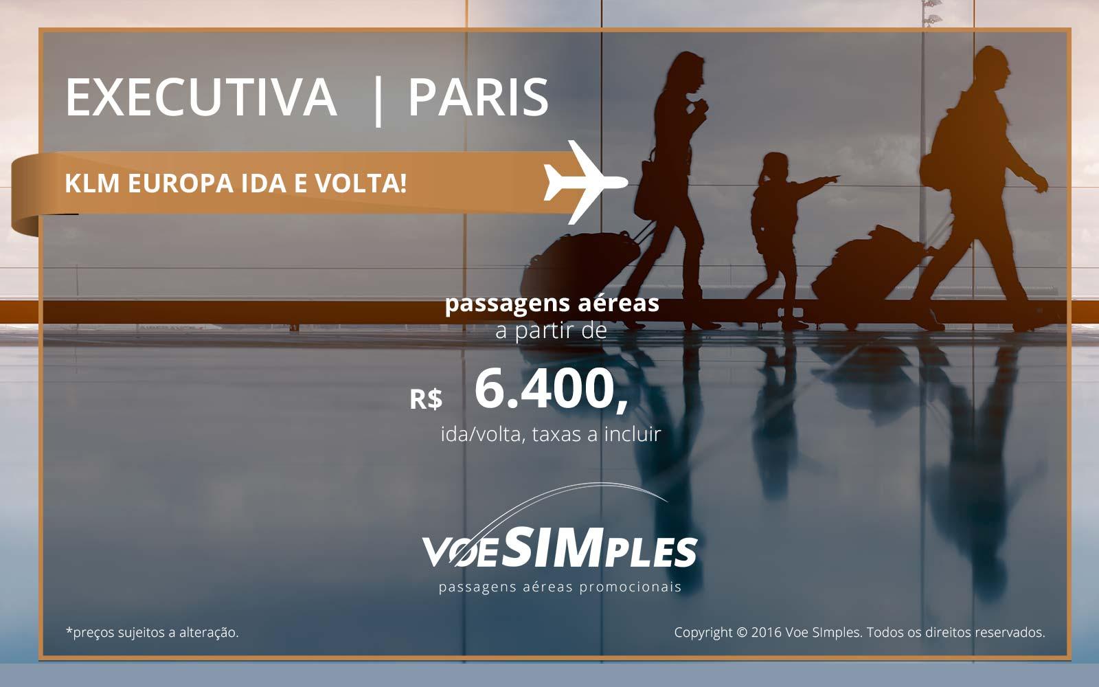 Passagem aérea Classe Executiva KLM para Paris
