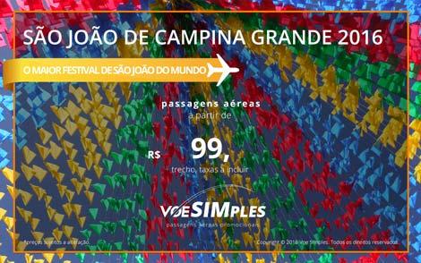 Passagem aérea promocional para São João de Campina Grande